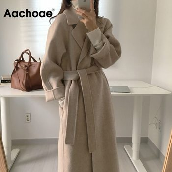 Women Elegant Long Wool Coat With Belt Solid Color Long Sleeve Chic Outerwear Ladies Overcoat Autumn Winter