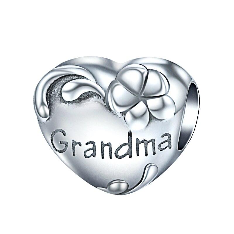 Hot New 100 925 Sterling Silver Grandma Charms Heart Shaped Flower Beads Diy Jewelry Fits Pandora Bracelets Grandma Gift Beads Aliexpress
