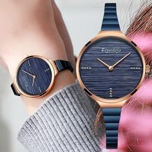 Fantor Elegant Ladies Luxury Brand Watches Women Quartz Small Wrist Watch Blue Bracelet Woman Clock