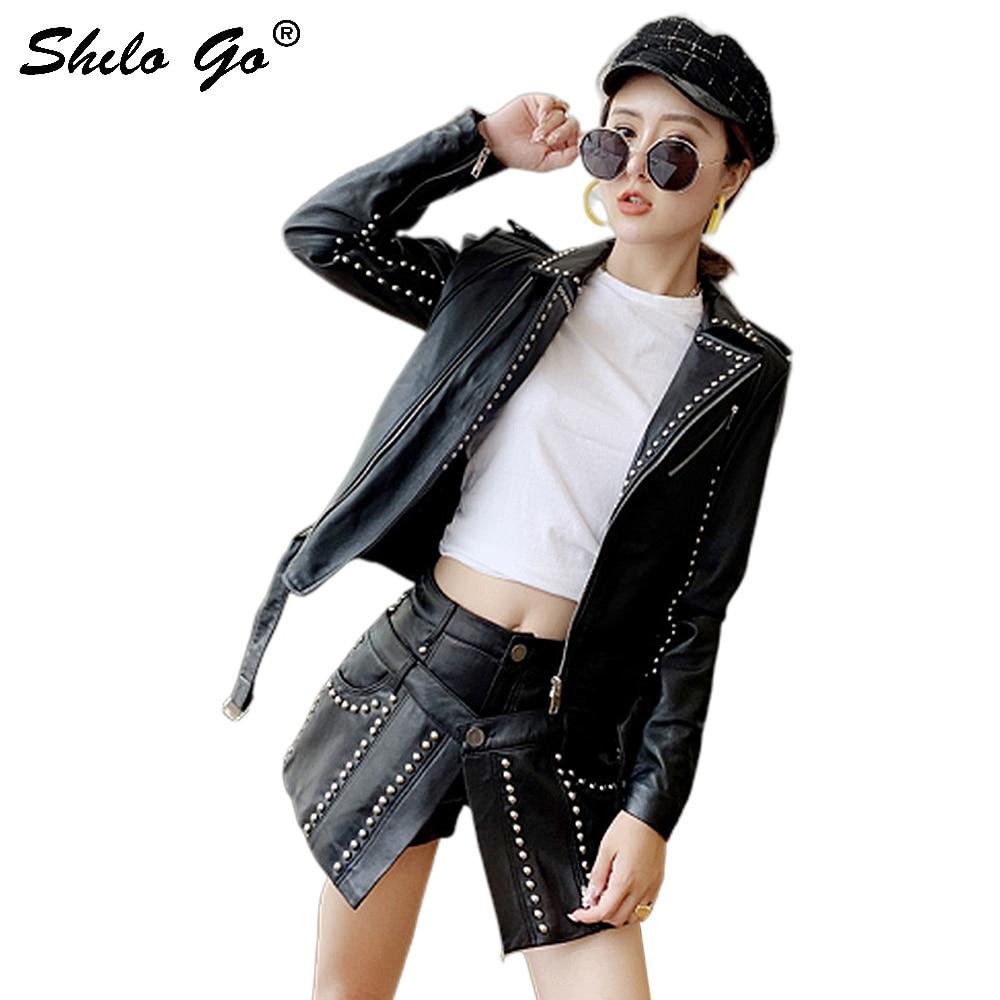 Genuine Leather Jacket Highstreet Rivets Detail Notched Neck Buckle Belted Zip Jacket Coats Women Autumn Moto Solid Slim Outwear
