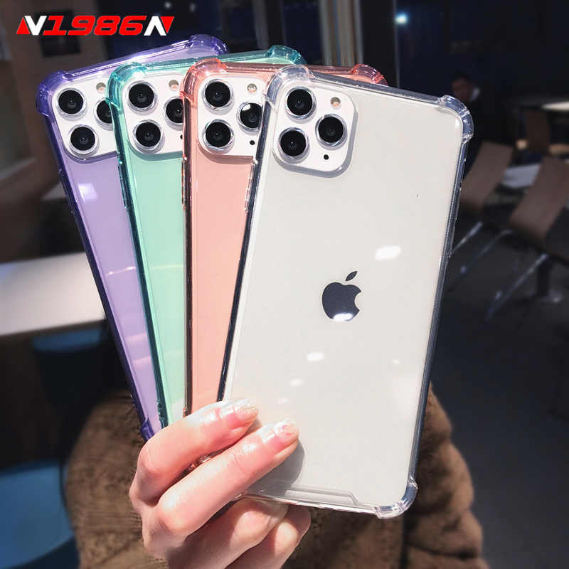 N1986N For iPhone 11 Pro X XR XS Max 6 6s 7 8 Plus Phone Case Luxury Candy Colors Shockproof Bumper Clear Soft TPU For iPhone 11