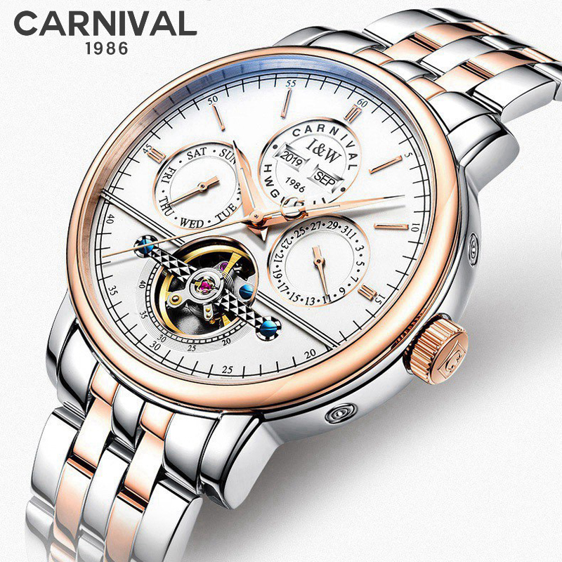 Watches Men Top Luxury Brand Automatic Mechanical Watch Sapphire Waterproof Tourbillon Steel and leather strap Male Clock