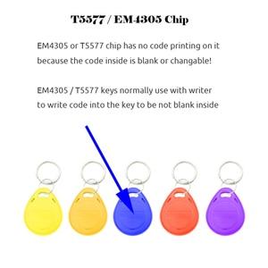 Image 3 - 50 pz/lotto EM4305 T5577 125khz Copy Riscrivibile Scrivibile Rewrite portachiavi RFID Tag Chiave di Carta di Anello Di Prossimità Token Distintivo Duplicato