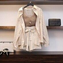 Summer Spring Women' Suit 3 Piece Set Plaid Blouses Tank Tops Elastic Waist Belt Outfit 2020 Wide Leg Long Sleeve Woman Suits