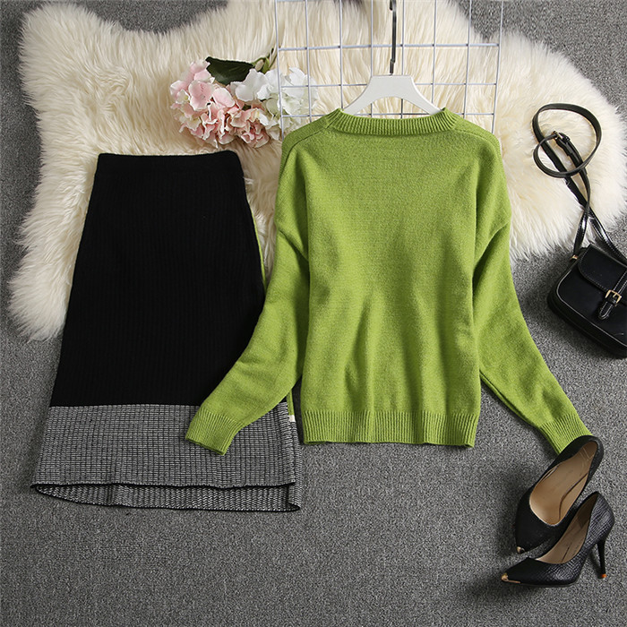ALPHALMODA 2019 Autumn New Arrived Women Knitting Sweater Skirt Suits Bright Color Youthful Winter Knitting Outfit 2pcs Set 107