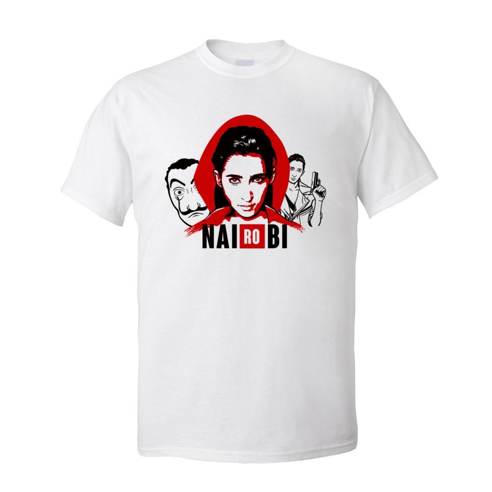 Nairobi O cou T Shirt hommes la casa de papel t shirts à manches courtes surdimensionné 100% coton tissu vêtements de sport classique T Shirt |