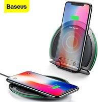 Baseus dobrável qi carregador sem fio para iphone xs max x 10 w 3 bobinas rápida almofada de carregamento sem fio para samsung s9 s8 xiaomi mix 3 2s
