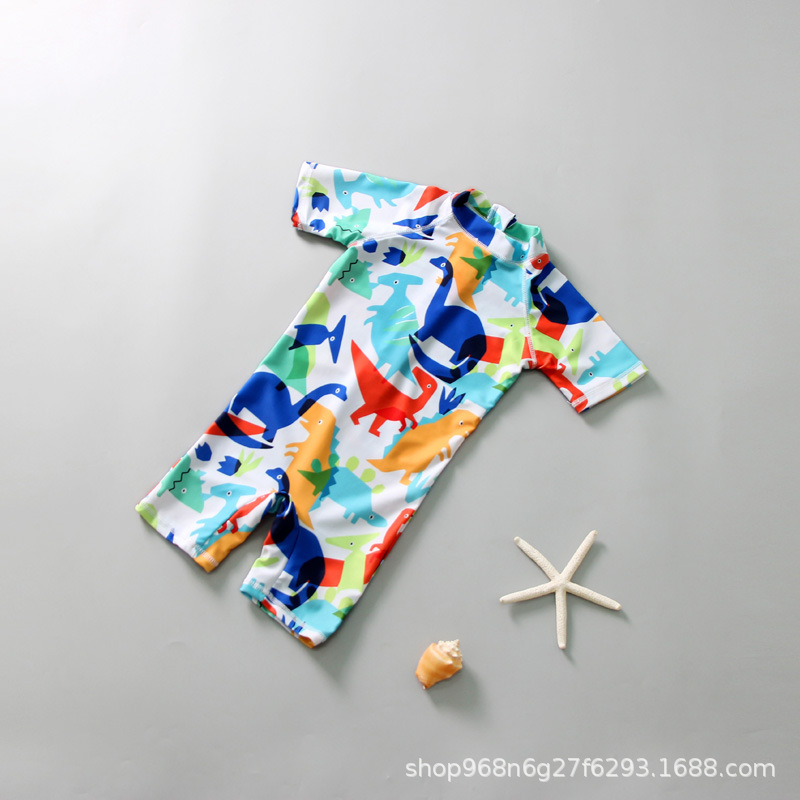 Korean-style Cartoon Children Siamese Swimsuit Boy Sun-resistant UV-Protection BOY'S Surfing Suit Cute Swimwear