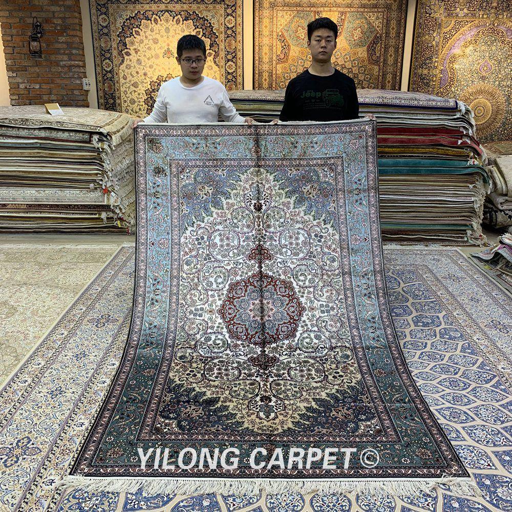 YILONG 5'x8 'tissé à la main persan ivoire tapis Antique classique médaillon soie tapis (YXR363B)