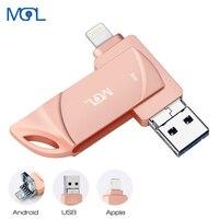 MGL OTG USB Flash Drive DK73 Metal pen drive 128Gb 256Gb Pendrive 16Gb 32gb 64gb Usb2.0 Flash Disk for iPhone X/8 Plus/8/7 Plus|USB Flash Drives|   -