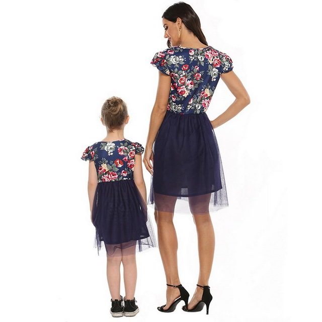 2020 Mother Daughter Dresses Short Sleeve Floral Short Dress Family Clothes Mom Daughter Princess Dress Family Matching Clothes 5