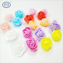 Plants 50pcs/lot 2.5cm Foam Rose Artificial Flower Head Wedding Festival Decoration Flowers Diy Scrapbooking Fake New Arrival