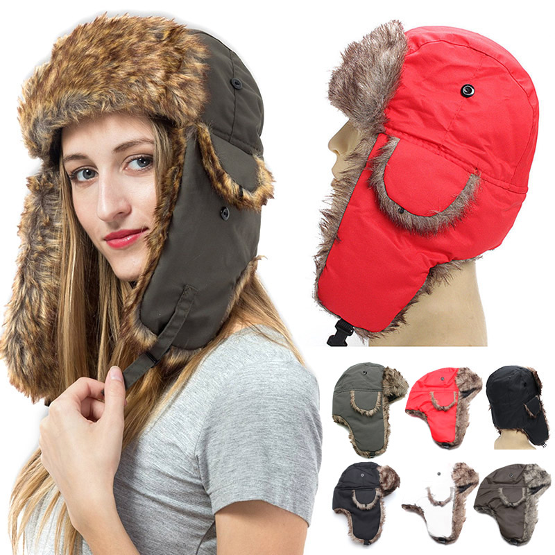 Hot Winter Trapper Trooper Earflap Warm Russian Ski Hat Fur Ushanka Hat hh88