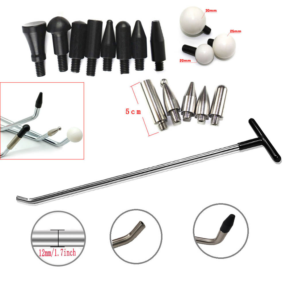 PDR Tools  Paintless Dent Repair Newly Design Rods Tools Hook Tools Push Rod with 8 Pcs Tap Down Heads (R1)