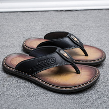 2020 Summer Flip Flops Men Genuine Leather Cowhide Black Brown Split Toe Slipper