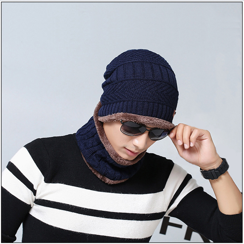 Winter Hat Knit Cap Scarf Cap Winter Hats For Men Knitted Hat Men Neck Warmer Women Winter Scarf