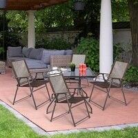 Conjunto de 4 ao ar livre dobrável sling cadeiras de alta qualidade cadeira moderna conjunto jardim pátio ao ar livre móveis para casa hw52894