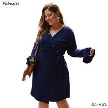 Long Sleeve Dress Women 2019 High Waist Plus Size Dress 4XL Slim Fit V Neck Belted Midi Dress Solid Knitted Autumn Dress Woman