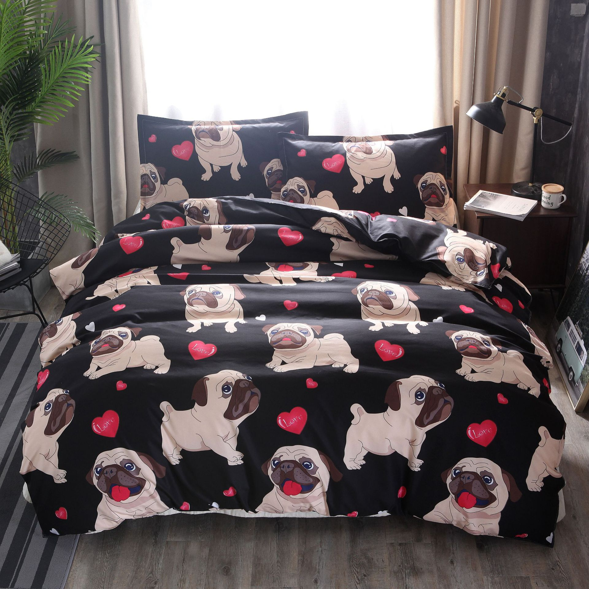 Hot Selling Bulldog Dog Europe And America Australia Size Bedding Article Three Four-piece Set