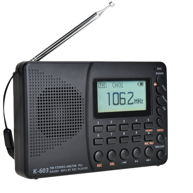 JINSERTA New FM/AM/SW Radio Multiband Portable Radio Receiver REC Recorder Bass Sound MP3 Player Speakers with Sleep Timer