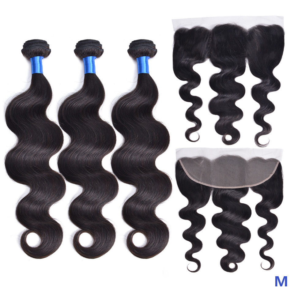 """OYM HAIR Body Wave 8""""-26"""" Middle Ratio Peruvian 100% Human Hair Bundles With Frontal Closure Non-Remy Hair Extension"""