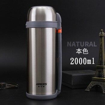 HAERS Thermos Pot de voyage extérieur bouteille inox isotherme grande capacité bouilloire HG-2000-14