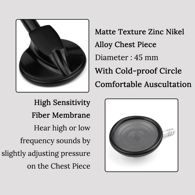All Black Medical Cardiology Doctor Stethoscope Professional Medical Heart Stethoscope Nurse Student Medical Equipment Device 2