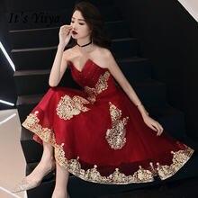 Женское длинное элегантное платье it's yiiya бордовое и