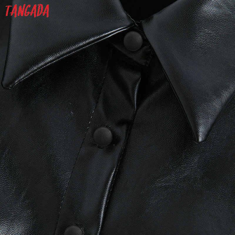 Tangada женские черные рубашки из искусственной кожи 2019 Новое поступление фонарь рукав Винтаж женские блузки оверсайз Топы BE04