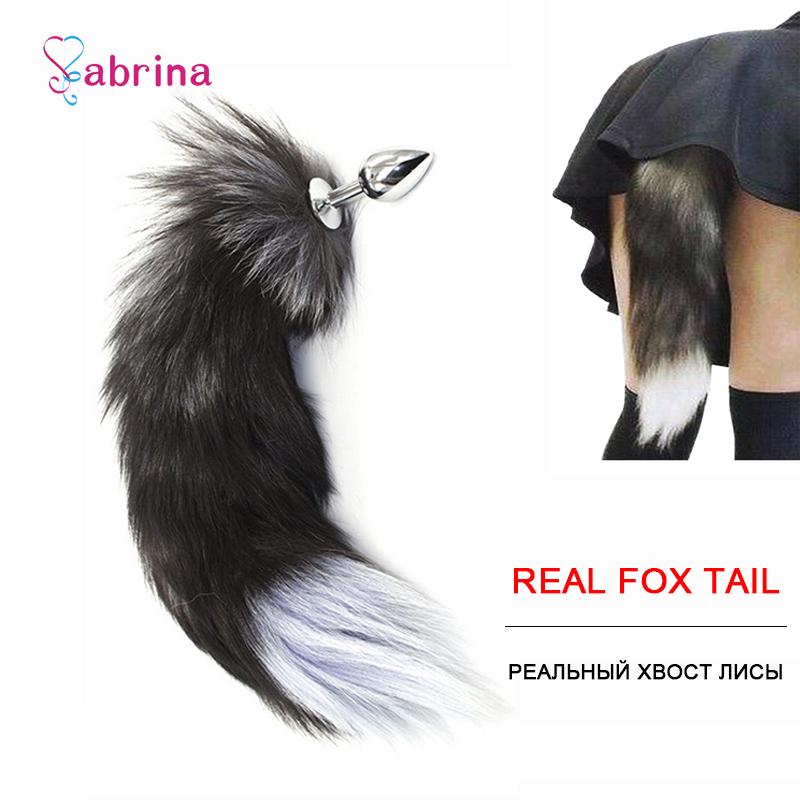 Girl Anal Fox Tail Butt Plug Metal Animal Real Fox Fur Sex Toy For Couple Cosplay Game Fetish Erotic Sex Slave Adult Accessories