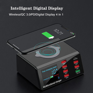 100 Вт PD QC 3,0 быстрое зарядное устройство, 8 портов, умный USB цифровой дисплей, зарядная док-станция, беспроводное быстрое зарядное устройство Qi...