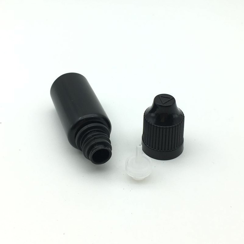 5pcs Soft PE Black Needle Bottle 10ml Plastic Dropper Bottles With Childproof Caps For E Liquid Empty Storage Bottles