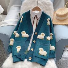 H SA 2020 kobiety zima dzianiny sweter płaszcz V neck owce swetry rozpinane świąteczne swetry ciepła dzianina Sueter Mujer długa kurtka tanie tanio Poliester CN (pochodzenie) Cotton polyester spandex Mieszkanie dzianiny Cartoon long V-neck Osób w wieku 18-35 lat Cardigans