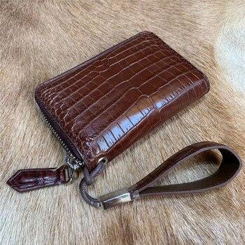 Authentic Crocodile Belly Skin Male Car Key Case Bag Unisex Small Brown Key Wallet Genuine Alligator Leather Men's Card Holders