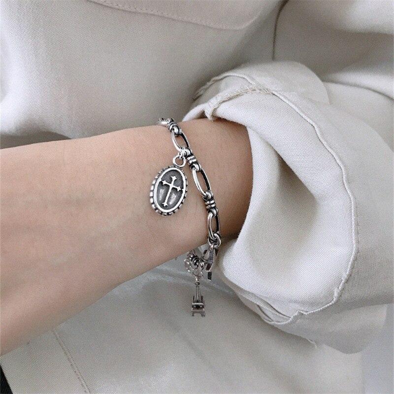 Ying Vahine 100% 925 argent Sterling aile & tour & pendentif étoile à cinq branches charme bracelets pour femme - 3
