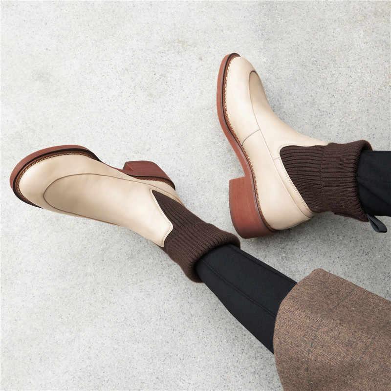 FEDONAS tatlı kadın Chelsea kısa çizmeler hakiki deri kare topuklu kadın sıcak tutan çoraplar yarım çizmeler dans parti ayakkabıları kadın