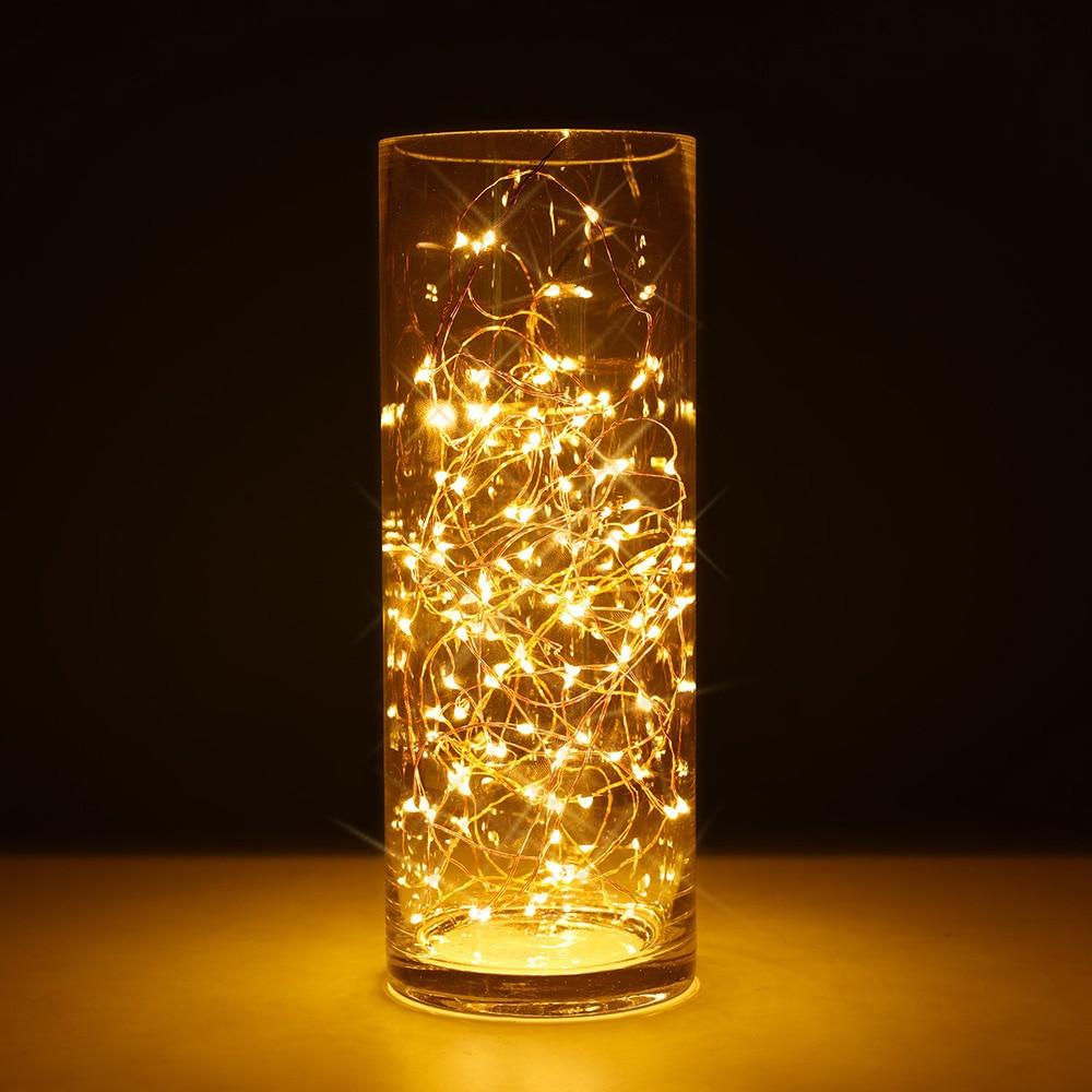 2M 20 LED fée lumières CR2032 à piles lampes à fil de cuivre LED pour noël guirlande fête mariage décoration de la maison @