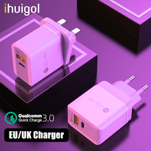 ihuigol 18W Type c USB Charger Quick Charge 3.0 EU/UK 2 Port PD Fast Phone Tablet Charger Adapter For iPad iPhone Xiaomi Samsung 18w fast usb charger adapter support quick charge 3 0 usb type c pd charger mini portable phone charger for iphone huawei xiaomi