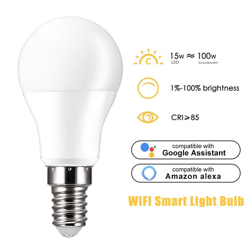Firya Smart WiFi Light Bulb 15W Voice Control Magic Light Bulb Lamp WakeUp Lights Compatible Alexa And Google Assistant Dropship