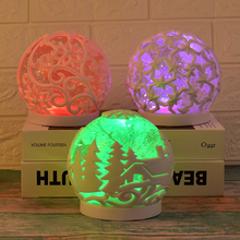 Crystal Ball Christmas Ornaments Led Color Changing Lights Night Lamp Snow Christmas Tree Atmosphere Light Birthday Gifts christmas snow night tree antiskid bath rug