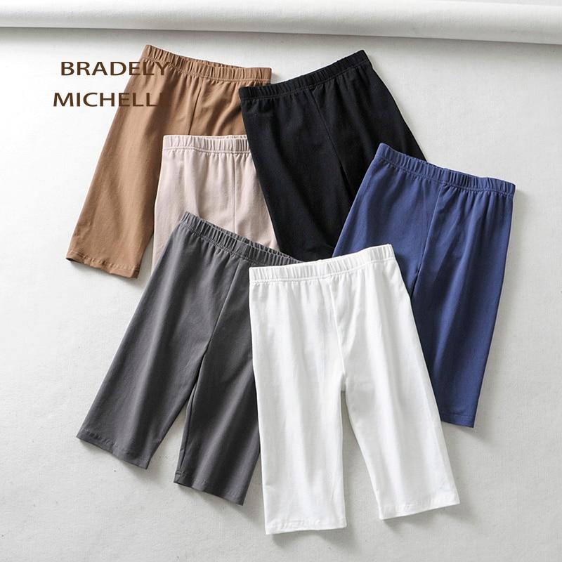BRADELY MICHELLE sexy women cotton high waist elastic pure color slim Knee-Length bikeshorts leggings female 1
