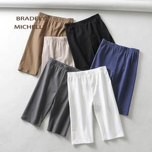 BRADELY MICHELLE sexy women cotton high waist elastic pure color slim Knee-Length bikeshorts leggings female