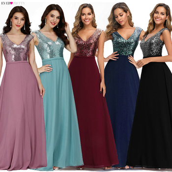 Ever Pretty Burgundy Sparkle Prom Dresses Long A-Line V-Neck Sequined Gala Sexy Party Gowns Robe Plissee Longue 2020 - discount item  25% OFF Special Occasion Dresses