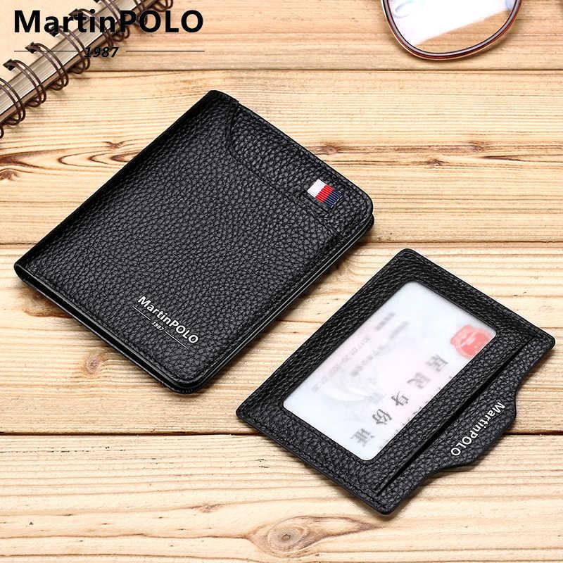 MartinPOLO גברים של עור ארנק יוקרה אשראי כרטיס בעל Slim מתקפל ארנקים עם מטלטלין מזהה חלון קטן שחור ארנק MP1006