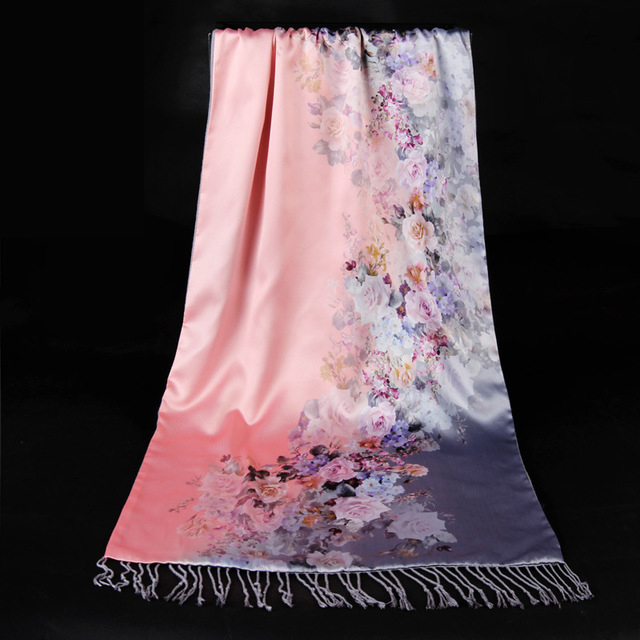 Silky Cashmere Scarf Female Print Flower Shawl Retro Scarves National Tippet Warm Scarf Two Sides Wear Pastoral Style Pashmina