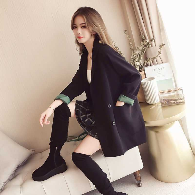 Women's Small Suit Jacket Black 2020 Spring and Autumn Korean-Style Loose and All-match Double-breasted Small Suit