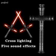 Pqbd sabre de luz prática básica espada de luz duelagem lâmina metal lidar com flash em choque com som, crianças brinquedo