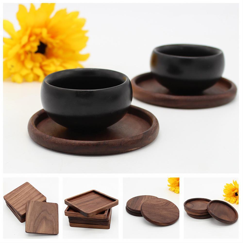 Okrągły kwadrat czarny orzech drewniany coaster Anti-scald i antypoślizgowa izolacja drewna stół mata pod kubek Pad przybory kuchenne