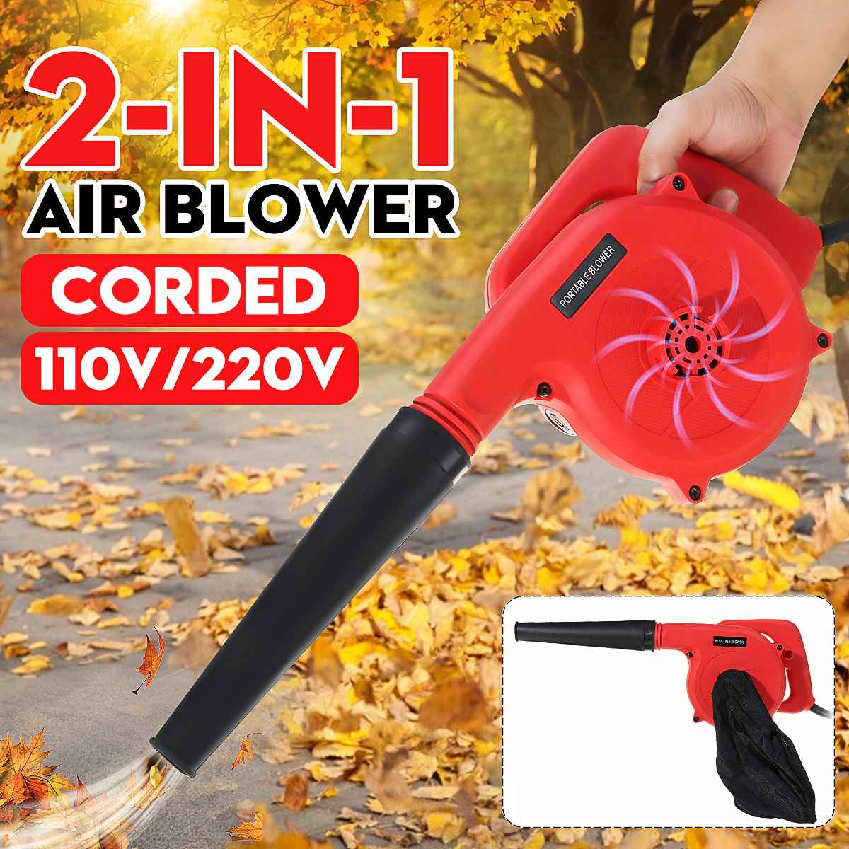 2IN1 Handheld Brushless Electric Air Blower Industrial Vacuum Dust Leaf Cleaner 110V/220V Computer Cleaning Home Vacuum Cleaner|Blowers|   - AliExpress