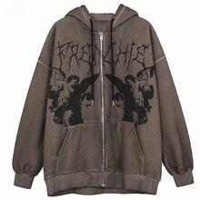 Women Hip Hop Streetwear Hooded Jacket Angel Dark Print Jacket Coat Harajuku Cotton Autumn Punk Winter Jacket Outwear Zipp